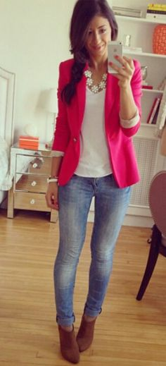 Skinny jeans, booties, white top, pink blazer, statement necklace.