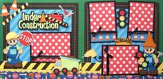 Under Construction Boy 2 Premade Scrapbook Pages Layout Paper Piecing Kids Scrapbook, Scrapbook Page Layouts, Scrapbooking Ideas, Scrapbook Pages, Construction Birthday, Under Construction, Baby Boy Baseball, Cherries, Paper Piecing