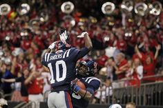 Ole Miss wide receiver Ja-Mes Logan (85) celebrates his touchdown with wide receiver Vince Sanders (10) in the first half against Tulane in New Orleans, Saturday, Sept. 22.  The Rebels are now 3-1 after a 39-0 victory over the Green Wave.