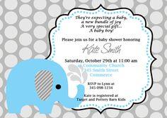 Printable Cute Blue Elephant Baby Shower Invitation Customized Baby Shower Invitation.