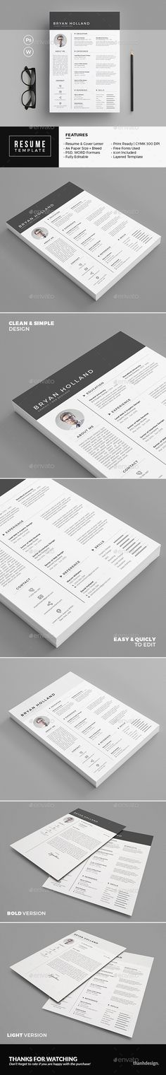 Resume by thanhdesign INCLUDED Resume/CV Template Cover Letter Light & Bold Version Help File & User Manual FEATURES 300 DPI, CMYK Color A