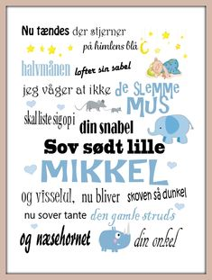 Vuggevise(dreng)50x70 Boy Names, Kidsroom, Signs, Baby Cards, Kids Decor, Art Music, Kids And Parenting, Wall Sticker, Art For Kids