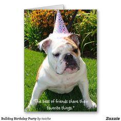 Bulldog Birthday Party Greeting Card