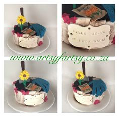 Gardening Cake #gardeningcake Bird Cakes, Cupcake Cakes, Cupcakes, Butterflies, Graduation, Teacher, Birds, Gardening, Lady