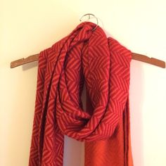 Double Color Scarf I LOVE this scarf. Thick like wool almost--orange and red with different patterns on each end! Boutique Accessories Scarves & Wraps
