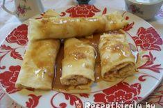Almás palacsinta tejszínes karamell öntettel   Receptkirály.hu Sausage, French Toast, Sweets, Meat, Breakfast, Food, Caramel, Sweet Pastries, Breakfast Cafe