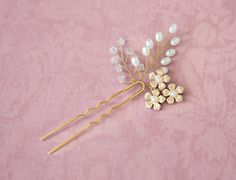 Bridal Hair Pin Set Boho Pearl Crystal Floral by LottieDaDesigns