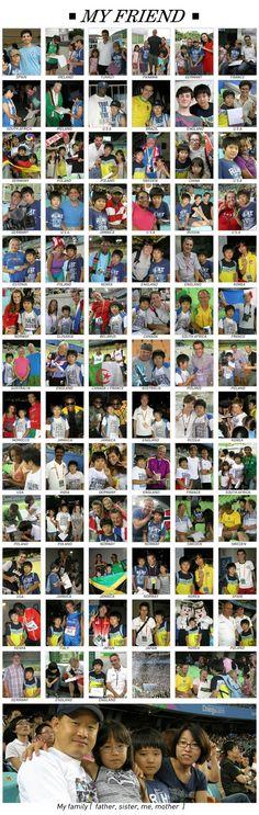La bonita actividad escolar de un niño coreano, que se tomó fotos con extranjeros en el Campeonato Mundial  de Atletismo de Daegu 2011.