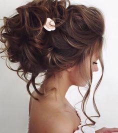 Bridal Hairstyles Inspiration : Elstile wedding hairstyles for long hair 10 Deer Pearl Flowers / www. Wedding Hairstyles For Long Hair, Elegant Hairstyles, Wedding Hair And Makeup, Up Hairstyles, Hair Makeup, Bridal Hairstyles, Hairstyle Ideas, Hair Wedding, Flower Hairstyles