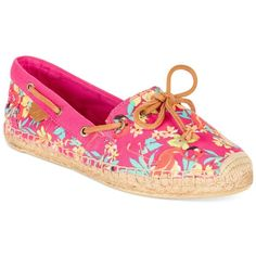 Sperry Women's Katama Espadrille Flats Women's Shoes ($54) ❤ liked on Polyvore featuring shoes, hot pink flamingo floral, flat pumps, floral shoes, espadrilles shoes, striped flats and espadrille flats