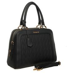 Black  -  Quilted Patchwork Ladies Handbag Fashion Shoulder Bag. £23.99