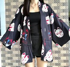Black/red harajuku mask kimono haori SE10982    Use coupon code #cutekawaii for 10% off