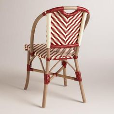 Our side chairs marry casual and modern design with a chevron-patterned synthetic weave on a frame made of acacia wood, rattan and bamboo. Inspired by café seating, these unique chairs provide a comfortable seat for dining.