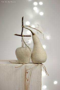 Needle Felt Apple and Pear  White Cottage Set by FeltArtByMariana