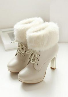 Beige Round Toe Chunky Faux Fur Patchwork Fashion Ankle Boots - Boot Heels - Ideas of Boot Heels - Beige Round Toe Chunky Faux Fur Patchwork Fashion Ankle Boots Ankle Boots Beige, High Heel Boots, Heeled Boots, High Heels, Fur Heels, Boot Heels, Platform Ankle Boots, Fancy Shoes, Pretty Shoes