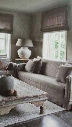 Shades of Gray~ Living Area, Living Spaces, Living Room, Interior Exterior, Interior Design, Piece A Vivre, Wabi Sabi, Rustic Interiors, Sofa
