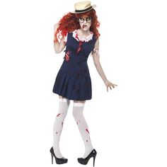 High School Horror Zombie College Student, Navy, with Dress and Hat. http://www.novelties-direct.co.uk/High-School-Horror-Zombie-College-Student-Navy-with-Dress-and-Hat.html