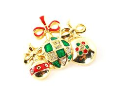 Vintage 1970s Rhinestone and Enamel Gold Christmas Ball Ornament Brooch Pin