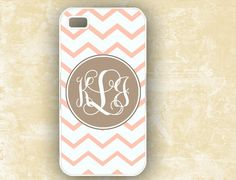 Chevron Iphone case 4 and 4s monogram pink - also love in yellow/gray - by ToGildTheLily. $16.99, via Etsy.