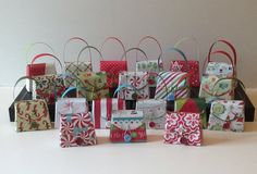 12 Small Christmas gift box/party favor purses by FancyWhatNots, $15.00