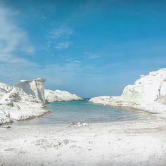 Milos island (Μήλος). Unique kind moonscape beach (Sarakiniko beach) in the world .