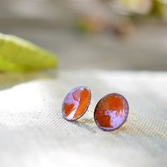 Enamel post earrings  round stud earrings  bright orange by alery