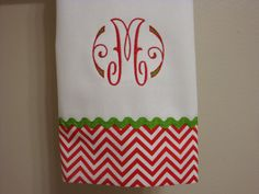 Chevron Christmas Red Hand Towel Monogrammed.