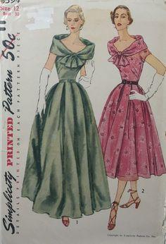 Винтажная Швейная узор узор простота 8394 вечернее платье коктейльное день платье W/ широкий вырез большой ©воротник 1952 Размер 12 ФФ