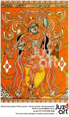 Govardhana Giridhari, Artist : Aneesh Mepate, Paintings can be done on demand… Kerala Mural Painting, Krishna Painting, Madhubani Painting, Ganesha Art, Krishna Art, Hare Krishna, Outline Drawings, Art Drawings, Beach Mural