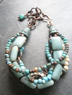 Multi-strand Gemstone Bracelet Amazonite Bone Czech by esdesigns65