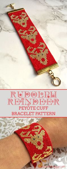 Christmas wrist candy project! Access the pattern to make this fabulous Rudolph Reindeer Peyote Stitch Beaded Cuff Bracelet...