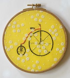 Vintage Bicycle Embroidery Hoop Art by Kitsch and Stitch