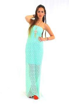 Crochet Maxi Dress in Mint