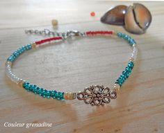 Chaîne de cheville perles de rocailles fleur : Chaines par couleur-grenadine33