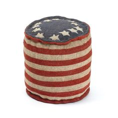 """Eclipse Home Collection Betsy Ross Pouf 17"""" H x 17"""" Dia."""