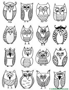 Diseños de búos para pintar sobre piedra Owl Doodle, Doodle Art, Rock Painting Ideas Easy, Rock Painting Designs, 50 Diy Christmas Decorations, Aluminum Can Crafts, Owl Coloring Pages, Rock And Roll, Craft Activities For Kids