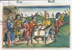 Genesis 42 25-28 Joseph sends his brothers home with a supply of free food, from the 'Nuremberg Bible (Biblia Sacra Germanaica)' (coloured woodcut), 1483