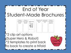 I Love My Classroom: End of Year Brochures Freebie