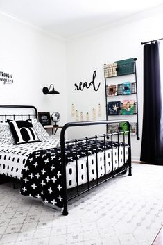 Monochrome Boys Room Makeover - Beauty For Ashes A monochrome boys room makeover with a modern vintage vibe. This is such a fun space for a kid and even includes a cozy reading nook.