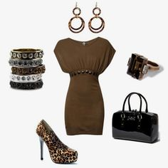 Brown with a pop of leopard.