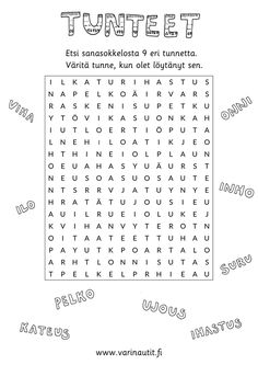 Tunnesanasokkelo Finnish Language, Primary English, Teaching Aids, Therapy Tools, Les Sentiments, Childhood Education, Special Education, Mathematics, Worksheets