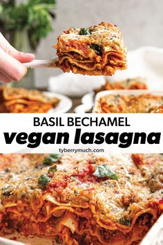This is seriously the best vegan lasagna recipe out there! This vegan basil bechamel lasagna is lighter and healthier than its traditional counterpart, yet still totally hearty. This vegan lasagna recipe is dairy-free, vegetarian friendly and plant-based. Filled with layers of Beyond Meat crumbles, and topped with a creamy cheesy dairy free basil bechamel sauce, this recipe has no tofu, no ricotta, and no cashews. Perfect for picky eaters! Best Vegan Lasagna Recipe, Best Vegan Recipes, Vegan Dinner Recipes, Vegan Dinners, Lunch Recipes, Easy Recipes, Vegetarian Recipes, Homemade Marinara, Homemade Pasta