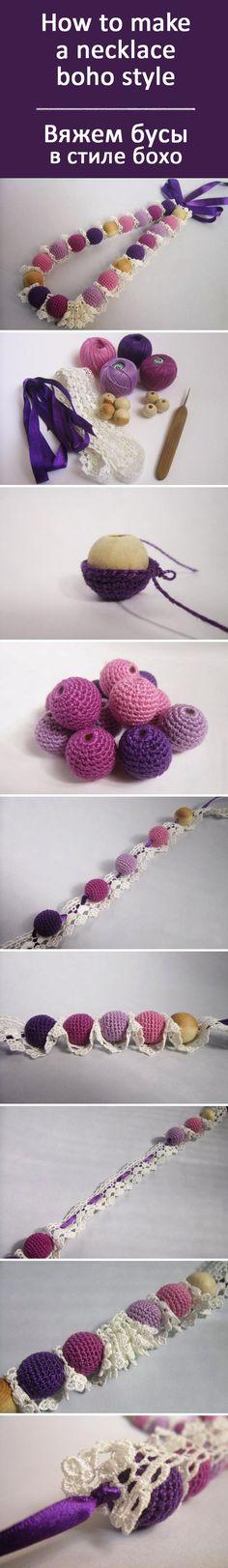 Делаем вязаные бусы в стиле бох своими руками / How to make a necklace boho…