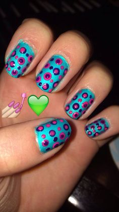 Blue pink and purple nail art designs