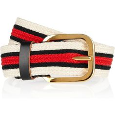 Marni Striped woven canvas belt found on Polyvore featuring polyvore, women's fashion, accessories, belts, tomato red, leather belts, 100 leather belt, braided belt, marni belt and red braided belt