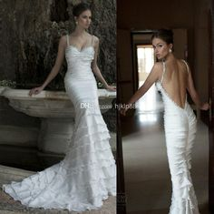 Discount Sexy Spaghetti Crystal Backless Berta Bridal Winter 2014 Collection Wedding Dresses Ruffles Mermaid Bridal Gowns Open Back Wedding Dress Online with $165.0/Piece | DHgate