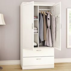 Free up space in your master bedroom closet or provide convenient storage space in the guest room with the Acapella Wardrobe Armoire by South Shore . Diy Wardrobe, Wardrobe Design, Armoire Wardrobe, White Wardrobe, Clothing Armoire, Open Wardrobe, Furniture Making, Bedroom Furniture, Bedroom Decor