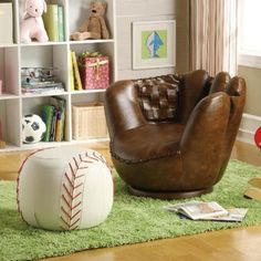 Guide to buy Baseball Glove Kids Faux Leather Chair and Ottoman By Crown Mark - Coupon Off on Bedroom Furniture Bedroom Themes, Kids Bedroom, Bedroom Decor, Kids Sports Bedroom, Boys Baseball Bedroom, Baseball Room Decor, Bedroom Ideas, Bedroom Furniture, Nursery Ideas