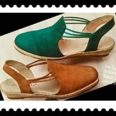 """New! Quite the stretch - with plenty of flex ?? Open ended comfort, closed toe protection and enough stretch in the middle to allow a foot conforming fit. These nubuck leather espadrilles hug feet with leather linings and sockliners.  Footbeds cushion the forefoot and heel. Slip - resistant. Flexible rubber outsoles. 1"""" wrapped wedge. Shoes Wedges"""