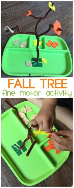 Fall Tree Fine Motor Activity - The Kindergarten Connection This fine motor activity is perfect for preschoolers and kindergarteners to build up fine motor skills and strengthen writing muscles this fall! Fall Preschool Activities, Seasons Activities, Motor Skills Activities, Toddler Activities, Learning Activities, Fine Motor Activity, Preschool Fall Theme, October Preschool Crafts, Writing Activities For Preschoolers